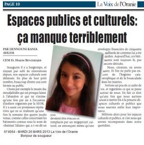 Espaces publics et culturels:PAR DENNOUNI RANIA AHLEM dans La Voix des élèves dennouni-rania-296x300